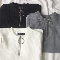 Women Korean style summer all-match zipper short sleeve t-shirt