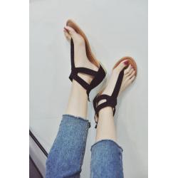 Letnie sandały z kryształkami & zamkiem błyskawicznym