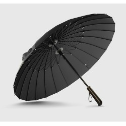 Hot Koop Merk Regen Paraplu Mannen Kwaliteit 24 k Sterke Winddicht Glasvezel Frame Houten Lange Stee