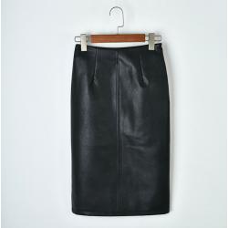 Elegant leather midi skirt