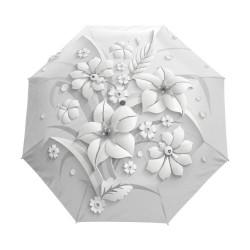 W pełni automatyczny parasol z kwiatowym nadrukiem 3D - ochrona UV