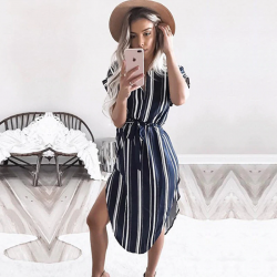 Summer women batwing short sleeve striped beach dress
