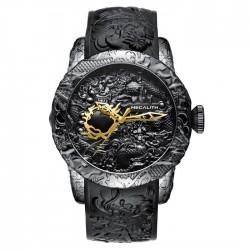 Reloj impermeable de lujo con dragòn esculpido