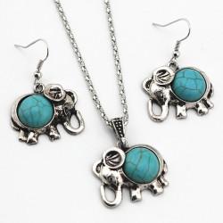 Naszyjnik i kolczyki z antycznym niebieskim słoniem - zestaw biżuterii