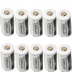 Battery - CR123A 16340 - 2200mAh 3.7V - rechargeable 10 pcs