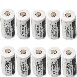 CR123A 16340 - 2200mAh 3.7V - pile rechargeable 10 pièces