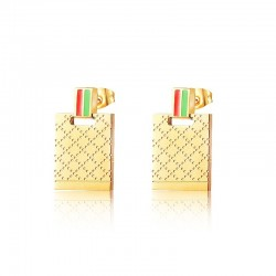Luksusowe złote kolczyki ze stali nierdzewnej