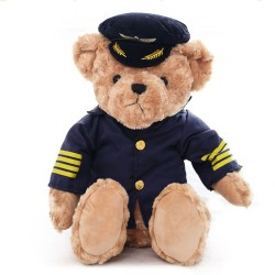 Pilot teddy bear - plush toy 25 cm