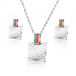Kwadratowe kolczyki i naszyjnik - komplet biżuterii ze stali nierdzewnej