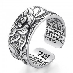 Buddhist heart sutra ring - lotus - silver - resizable - unisex