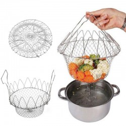 Foldable strainer - stainless steel mesh cooking basket