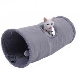 Tunnel en daim pour animaux de compagnie pliable avec cadre en acier et boule