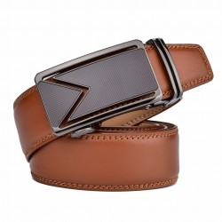 Genuine leather belt with automatic buckle