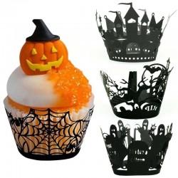 Pokrowce na babeczki i muffiny na Halloween - papierowe opakowania 12 sztuk