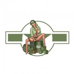 US wojskowa dziewczyna - winylowa naklejka na samochód i motocykl - wodoodporna 13 * 7.4 cm