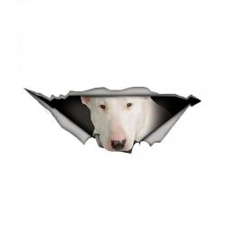 Biały Bull Terrier - winylowa naklejka na samochód - wodoodporna - 13 * 4,9 cm