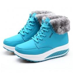 Zimowe buty do kostki - futerko - klinowa podeszwa