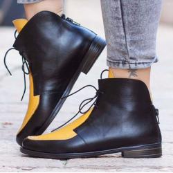 Modne buty do kostki z tylnym zamkiem błyskawicznym