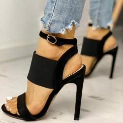 Sandały na obcasie - czółenka z klamrą na kostce & elastyczną gumką
