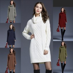 Knitted sweater with turtleneck - winter dress