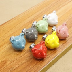 3D ceramic bear - drawer knobs - furniture handles
