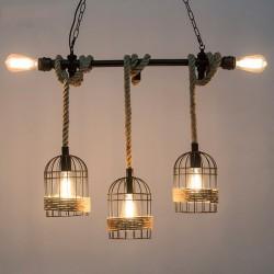 Suspension en fer rétro avec corde tricotée à la main - lumières dans la cage