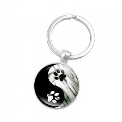 Yin Yang - szklany okrągły brelok do kluczy