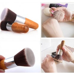Professional Kabuki Make-up brush with flat top and wooden handle
