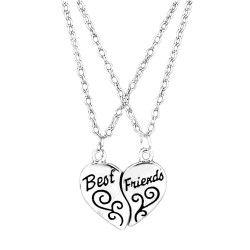 Best Friends - two pieces of a heart pendant with necklace