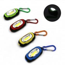 Mini COB LED 3-tryby latarka z karabińczykiem