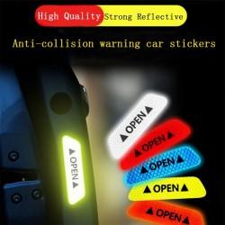 OPEN - antykolizyjne naklejki ostrzegawcze do drzwi samochodu - odblaskowe 4 sztuki