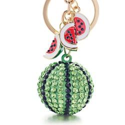 Zielony kryształowy arbuz - brelok do kluczy