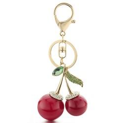 Kryształowe czerwone wiśnie - brelok do kluczy