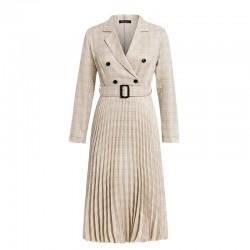 Vintage plisowana sukienka w kratę z paskiem