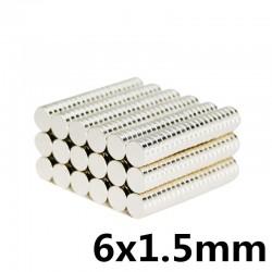 N35 Néodyme puissant aimant cylindrique rond 6 * 1.5mm 100 pièces