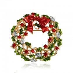 Christmas mistletoe wreath - brooch