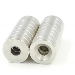Imán de cilindro de neodimio N50 con orificio avellanado de 5 mm: 20 * 5 mm 3 piezas