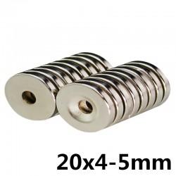 Imán de cilindro de neodimio N35 - súper fuerte - agujero avellanado - 20 * 4 * 5 mm 10 piezas