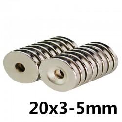 Magnes neodymowy N35 - super mocny okrągły pierścień 20 * 3 * 5mm 10 sztuk