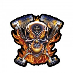 Skull & flames - vinyl car sticker 12 * 12cm