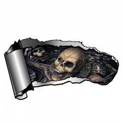 3D rozdarty metal z czaszką - winylowa naklejka na samochód 13 * 7.1cm