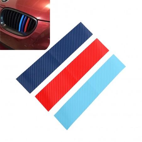 Fibra di carbonio 3D per griglia BMW - adesivo a strisce 25 * 5 cm