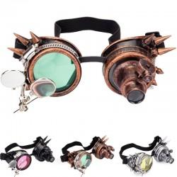 Okrągłe okulary w stylu gotyckim i steampunkowym - vintage gogle nitowe ze światłem