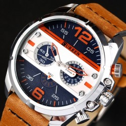 Luxury leather sports quartz watch