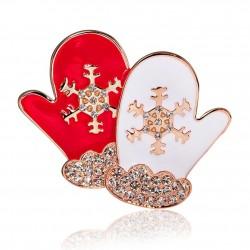 Świąteczne rękawiczki - kryształowa broszka