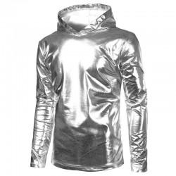 Glänzender Hoodie aus Metallic-Gold und Silber