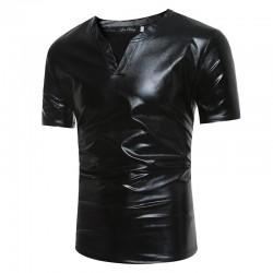 Błyszcząca metaliczna koszulka - krótki rękaw