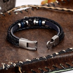 Leather bracelet with metal X - unisex