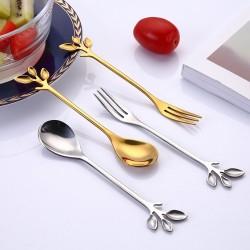 Manche en forme de feuille - cuillère à thé et fourchette à thé - café et desserts