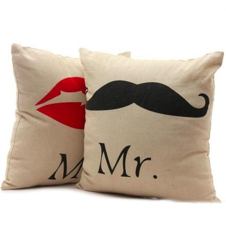 Mr & Mrs Pillowcase Cushion Cover Cotton 42cm * 42cm